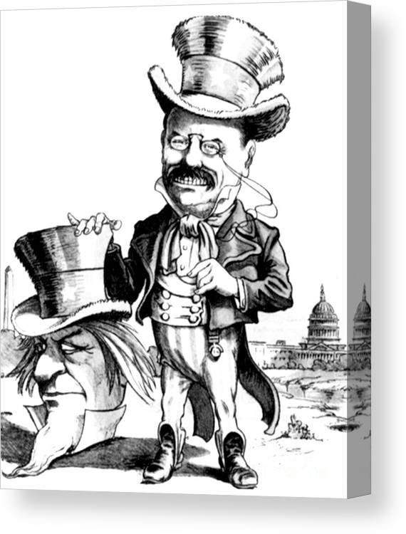 1905 Canvas Print featuring the photograph Teddy Roosevelt Cartoon by Granger