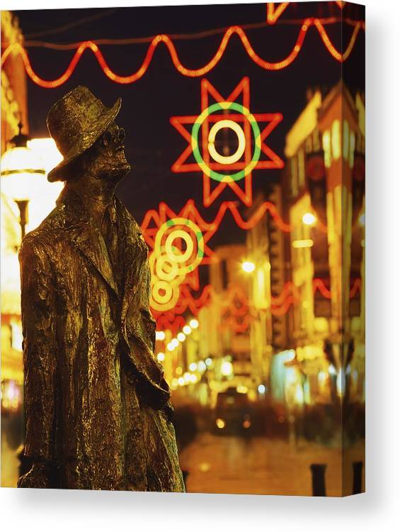 Color Canvas Print featuring the photograph Dublin, Co Dublin, Ireland Sculpture Of by The Irish Image Collection