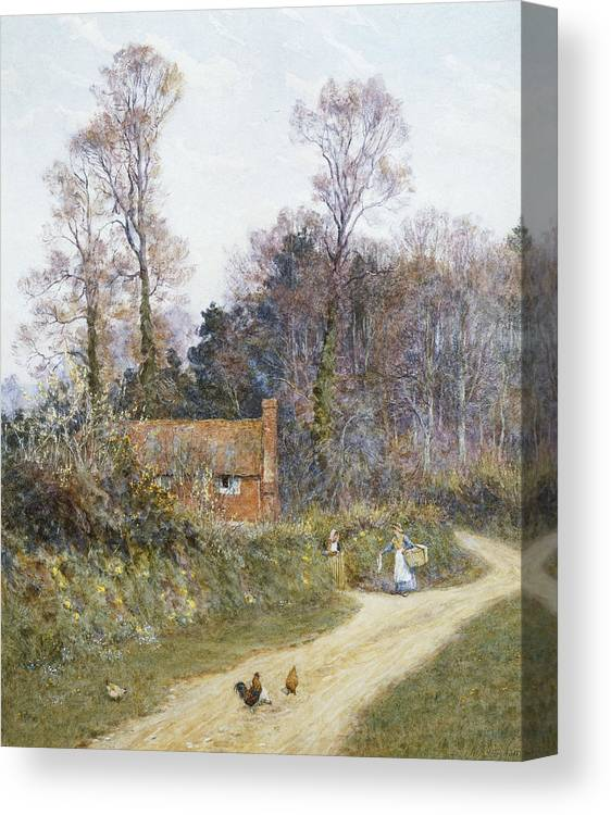 English; Landscape; C19th; C20th; Victorian; Country; Road; Cottage; Female; Women; Gossiping; Chickens Canvas Print featuring the painting In A Witley Lane by Helen Allingham