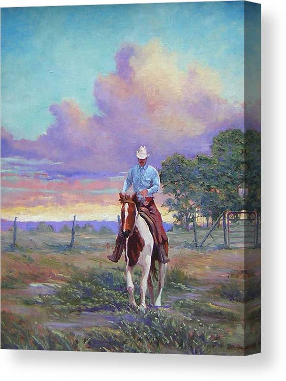 Landscape Canvas Print featuring the painting 050617-1620  Today Is A One Man Job by Kenneth Shanika