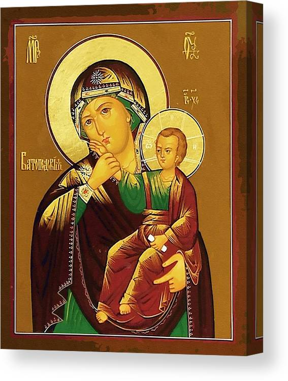 Virgin And Child Canvas Print featuring the digital art Virgin And Child Art by Carol Jackson