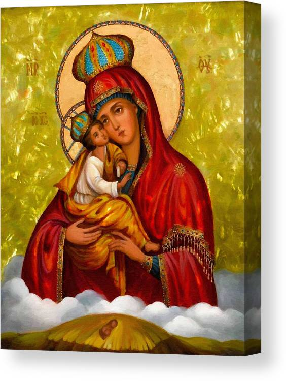 Virgin And Child Canvas Print featuring the digital art Mary And Child Religious Art by Carol Jackson