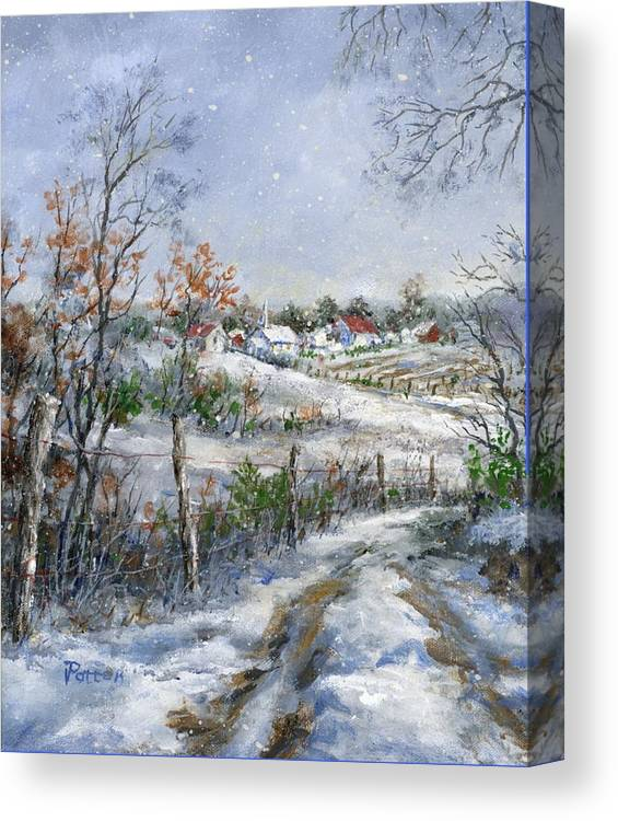 Snowfall Canvas Print featuring the painting Around The Bend Sold by Virginia Potter