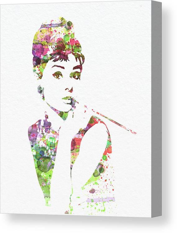 Audrey Hepburn Canvas Print featuring the painting Audrey Hepburn 2 by Naxart Studio