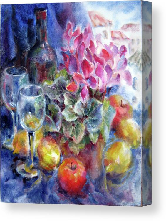 Still Life Canvas Print featuring the painting Behind A Dark Blue Curtain by Tatyana Berestov