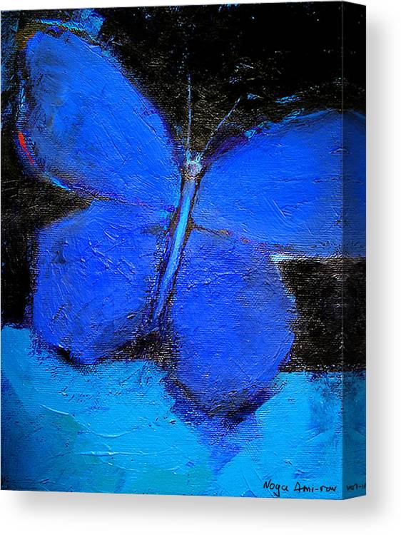 Butterfly Canvas Print featuring the painting Blue Butterfly by Noga Ami-rav