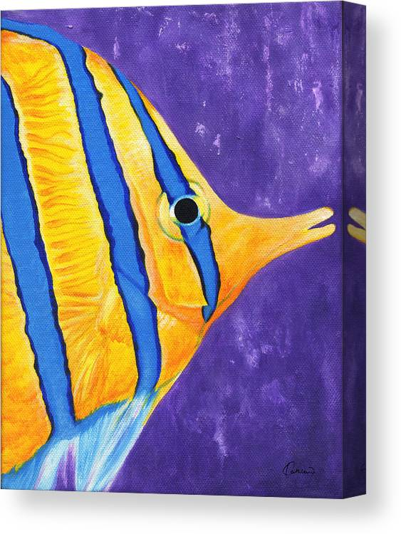 Butterfly Fish Canvas Print featuring the painting Butterfly Fish by Kathleen Wong