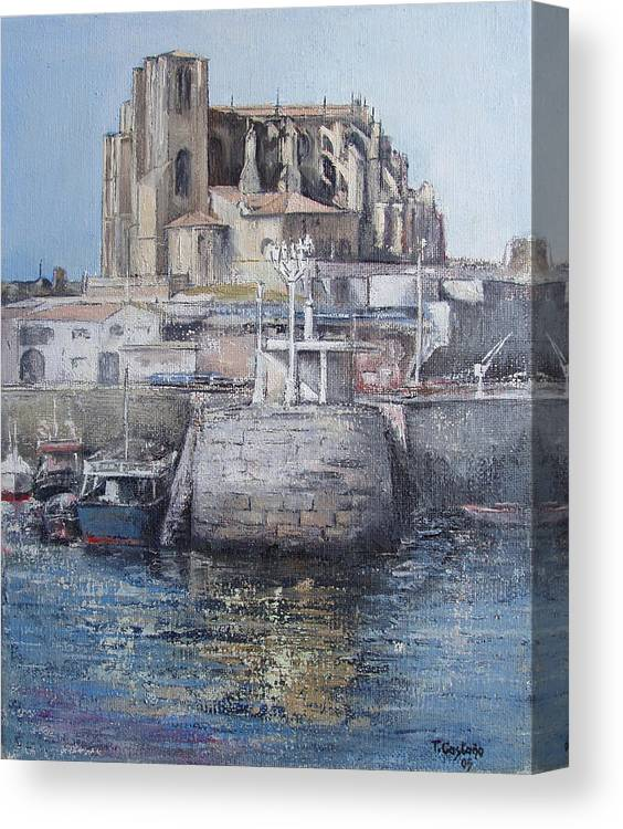 Castro Canvas Print featuring the painting Castro Urdiales by Tomas Castano