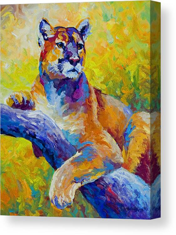 Mountain Lion Canvas Print featuring the painting Cougar Portrait I by Marion Rose