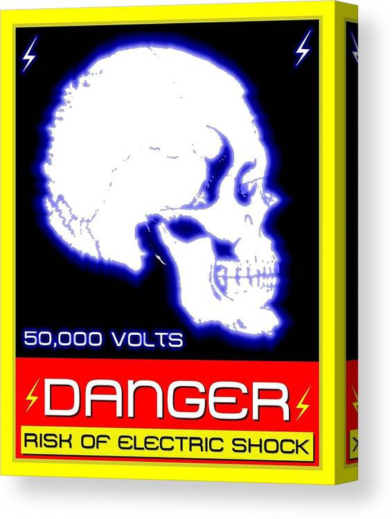 Industry Canvas Print featuring the mixed media Danger High Voltage Sign by Alvaro Ruiz Bojorges