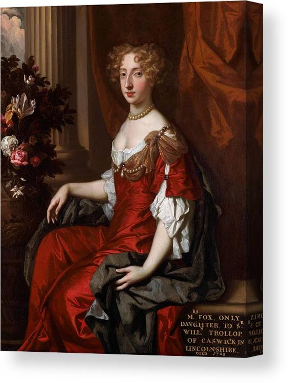 John Riley (1646 - 1691) Canvas Print featuring the painting Elizabeth Fox by MotionAge Designs
