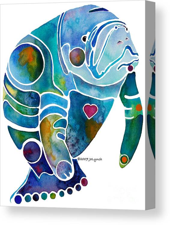 Manatee Canvas Print featuring the painting Endangered Manatee by Jo Lynch