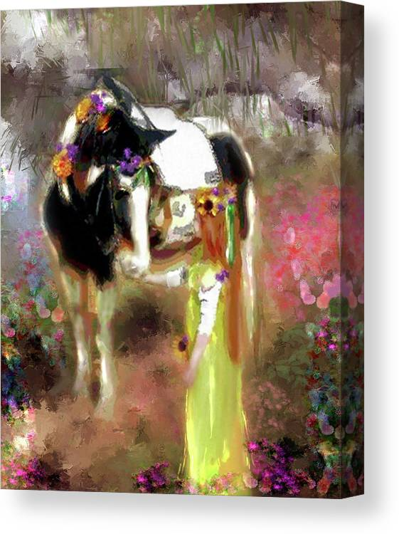Girl Canvas Print featuring the painting Fair Maiden by Donna Aloia