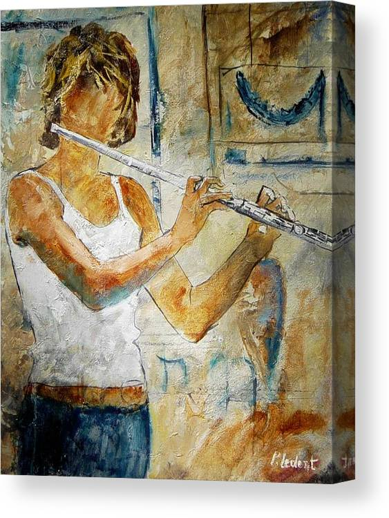 Music Canvas Print featuring the painting Flutist by Pol Ledent