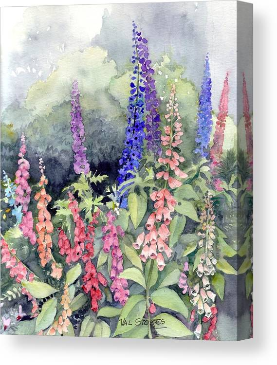 Canvas Print featuring the painting Foxgloves by Val Stokes