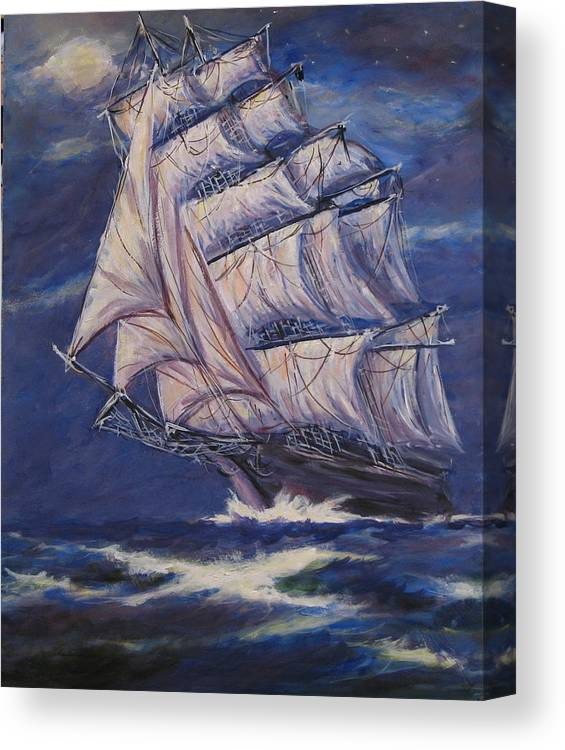 Sailing Ship Canvas Print featuring the painting Full Sails Under Full Moon by Thomas Restifo