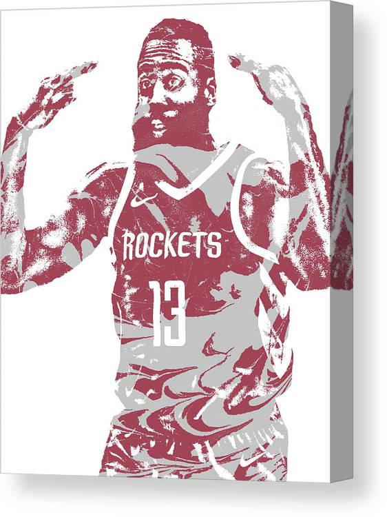 8f285fa668a2 James Harden Canvas Print featuring the mixed media James Harden Houston  Rockets Pixel Art 51 by. Wall View 001