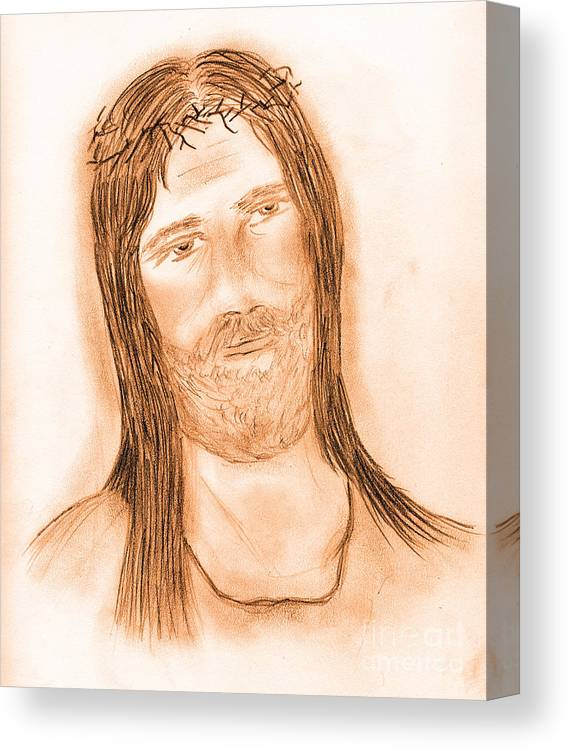 Jesus Canvas Print featuring the drawing Jesus In The Light by Sonya Chalmers