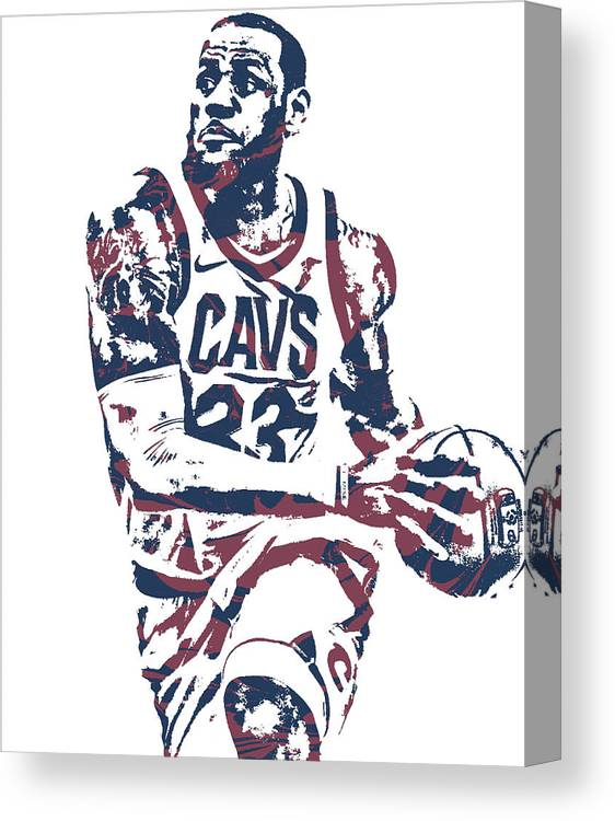 f622ed7c7 Lebron James Canvas Print featuring the mixed media Lebron James Cleveland  Cavaliers Pixel Art 50 by