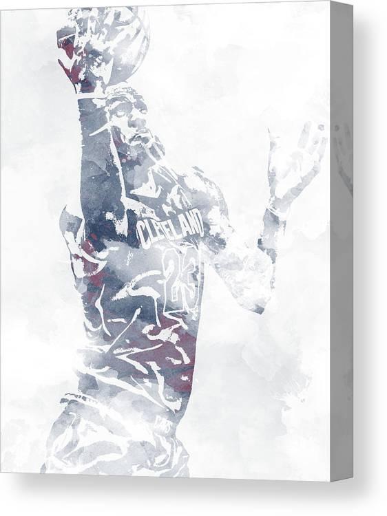 5fd9d4e245c Lebron James Canvas Print featuring the mixed media Lebron James Cleveland  Cavaliers Water Color Pixel Art