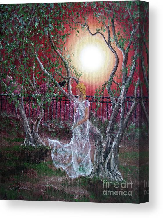 Supernatural Canvas Print featuring the painting Lenore By An Olive Tree by Laura Iverson