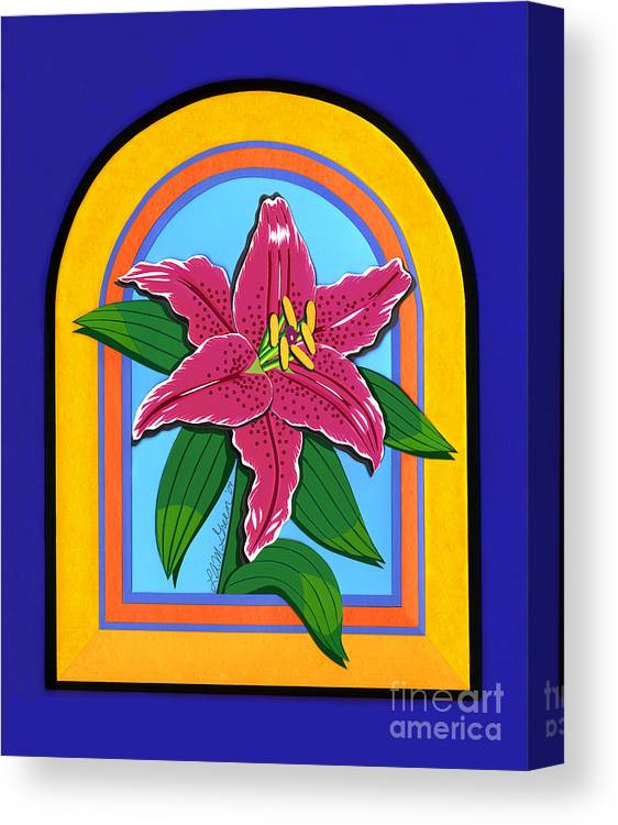 Nature Canvas Print featuring the drawing Lily by Lucyna A M Green