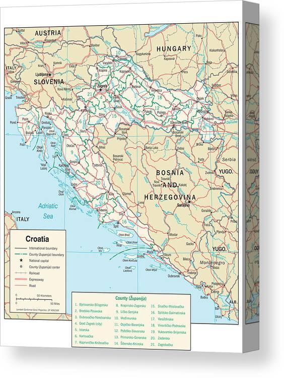 Map Of Croatia Canvas Print