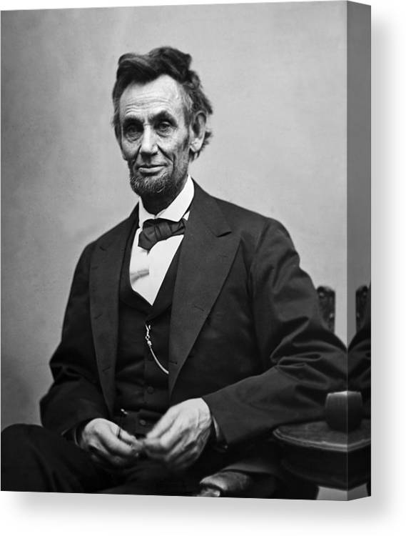 graphic relating to Printable Pictures of Abraham Lincoln identified as Portrait Of President Abraham Lincoln Canvas Print