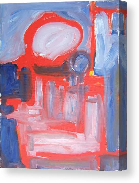 Abstract Canvas Print featuring the painting Red Composition by Michael Henderson