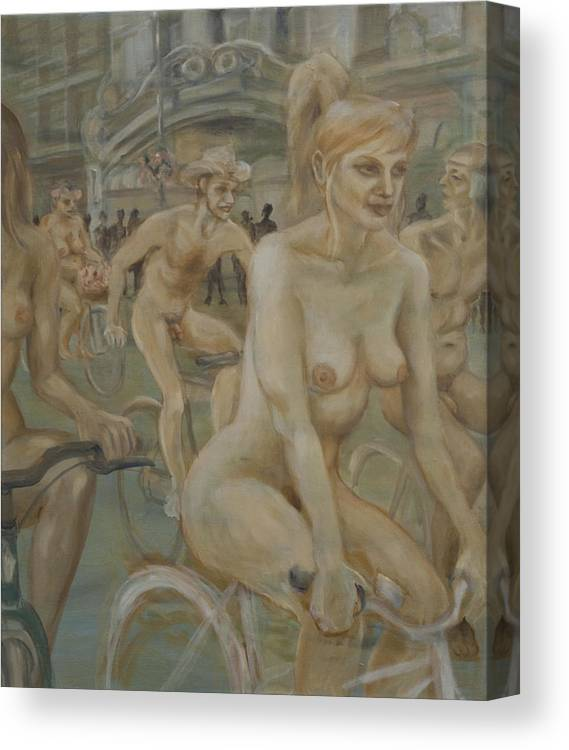 Nude In Motion Canvas Print featuring the painting Riding Passed Burlington Arcade In June by Peregrine Roskilly