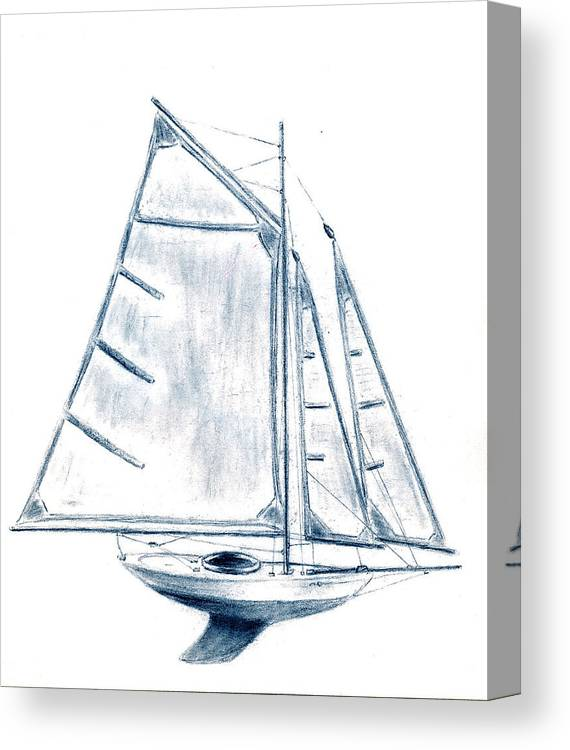 Boat Canvas Print featuring the drawing Sail Boat by Michael Vigliotti