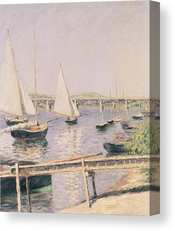 Yachting Canvas Print featuring the painting Sailing Boats At Argenteuil by Gustave Caillebotte