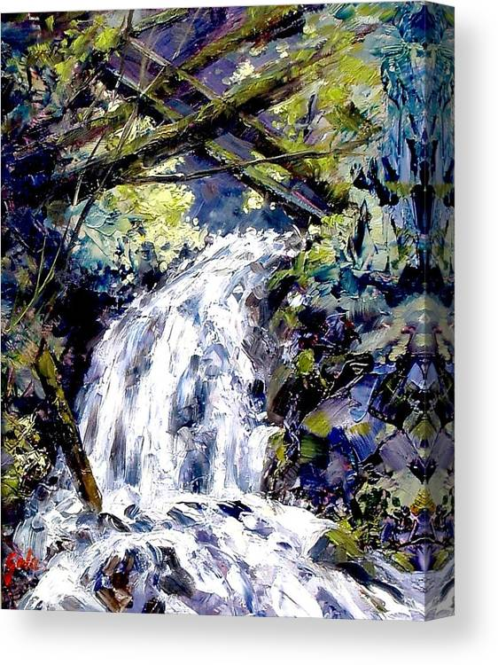 Landscape Canvas Print featuring the painting Shepherds Dell Falls Coumbia Gorge Or by Jim Gola
