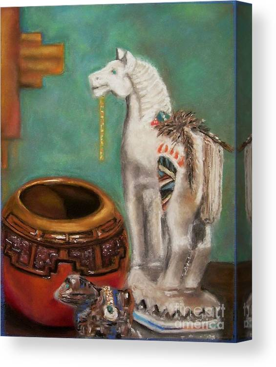 Southwest Art Canvas Print featuring the painting Southwest Treasures by Frances Marino