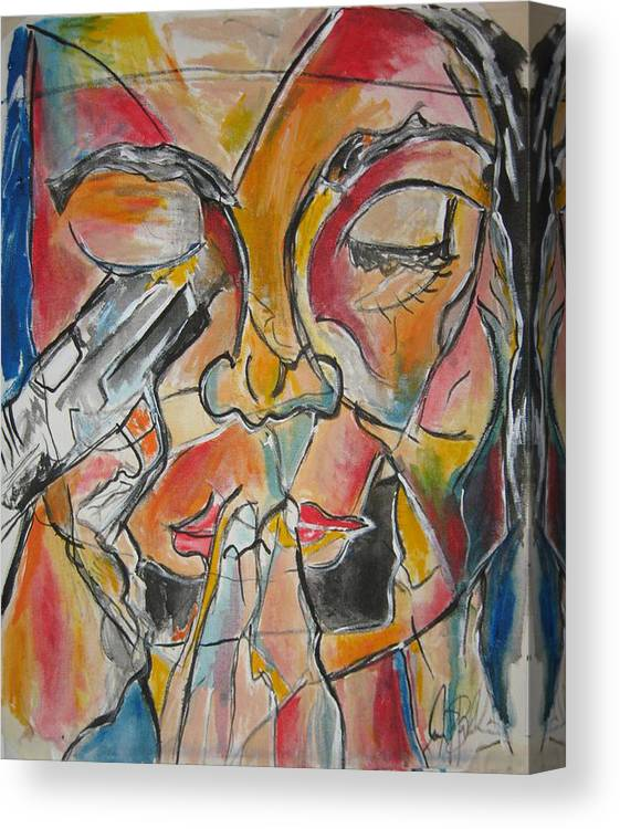 Stain Glass Canvas Print featuring the painting Stained Glass Assassinatiion by Jon Baldwin Art
