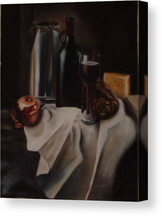 Wine Canvas Print featuring the painting Still Life With Apple by Nellie Visser