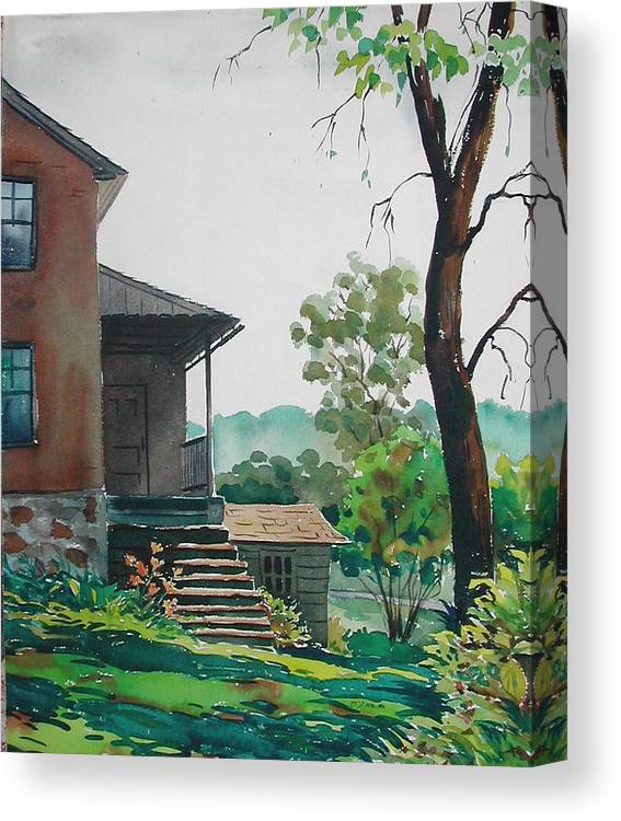 Canvas Print featuring the painting Sunlit Steps by Faye Ziegler