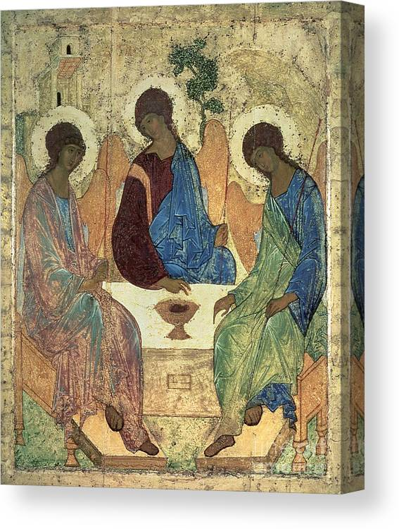 The Canvas Print featuring the painting The Holy Trinity by Andrei Rublev