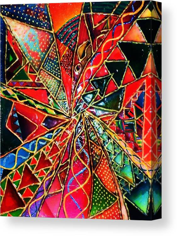 Abstracr Canvas Print featuring the painting Traffic Jam In Triangle Land by Brenda Adams