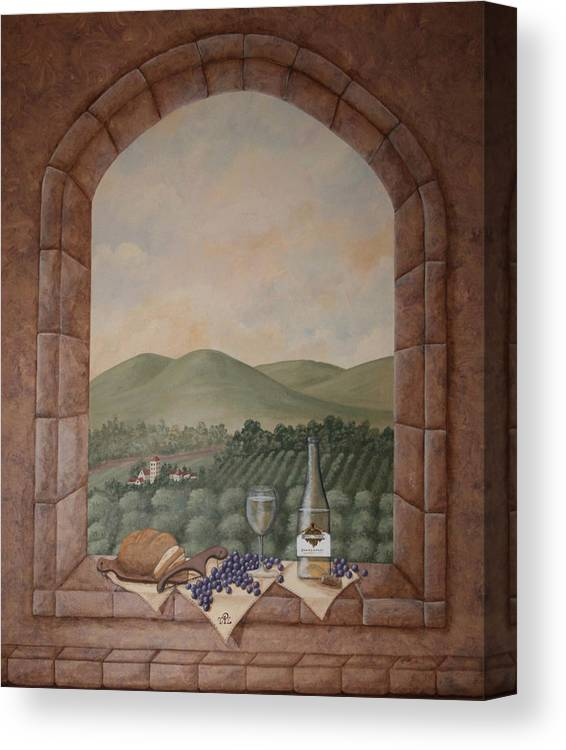 Wine Canvas Print featuring the painting Tuscan Window Ledge by Sandra Poirier