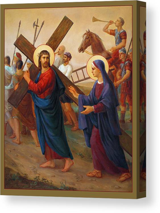 Bible Canvas Print featuring the painting Via Dolorosa - The Way Of The Cross - 4 by Svitozar Nenyuk