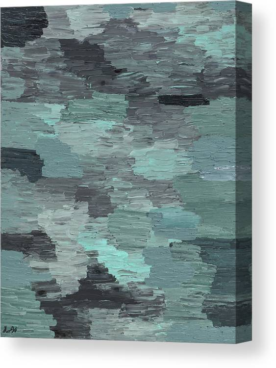 Blue Canvas Print featuring the painting A White And Dark Night by Seungah Seo