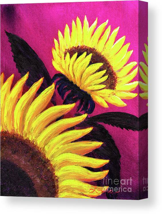 Sunflowers Canvas Print featuring the painting Wild Sunflowers by Laura Iverson
