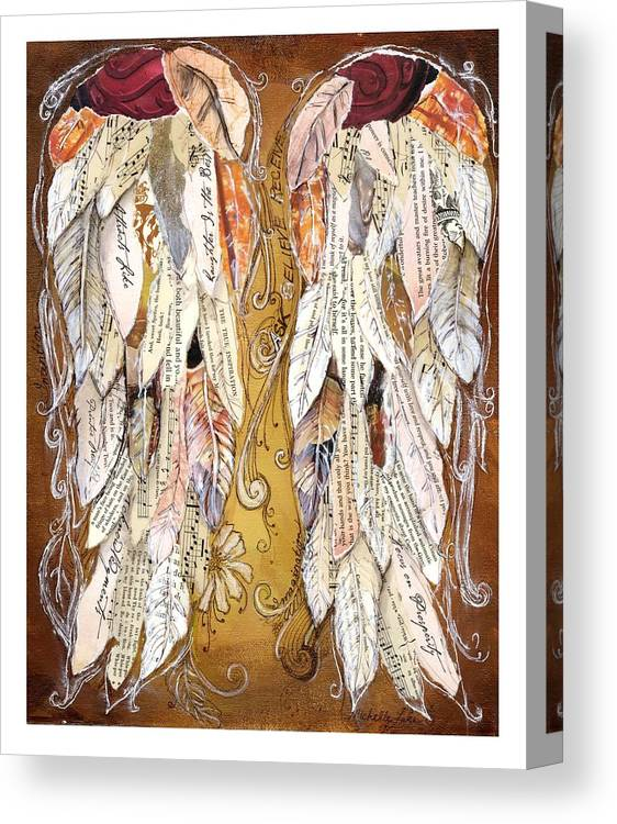 Wings Of Love Canvas Print featuring the painting Wings Of Love Sienna by Michelle Lake