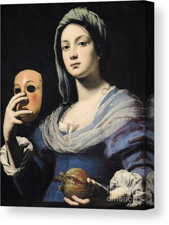 Woman Canvas Print featuring the painting Woman With A Mask by Lorenzo Lippi