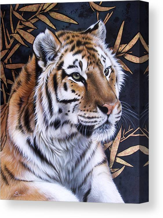 Tiger Canvas Print featuring the painting Zen Too by Sandi Baker