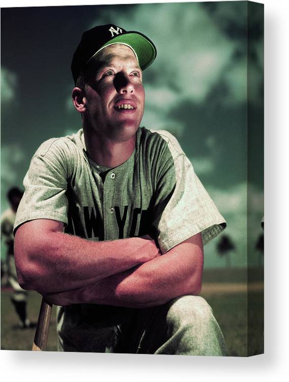 People Canvas Print featuring the photograph Baseball Player Mickey Mantle by Bettmann