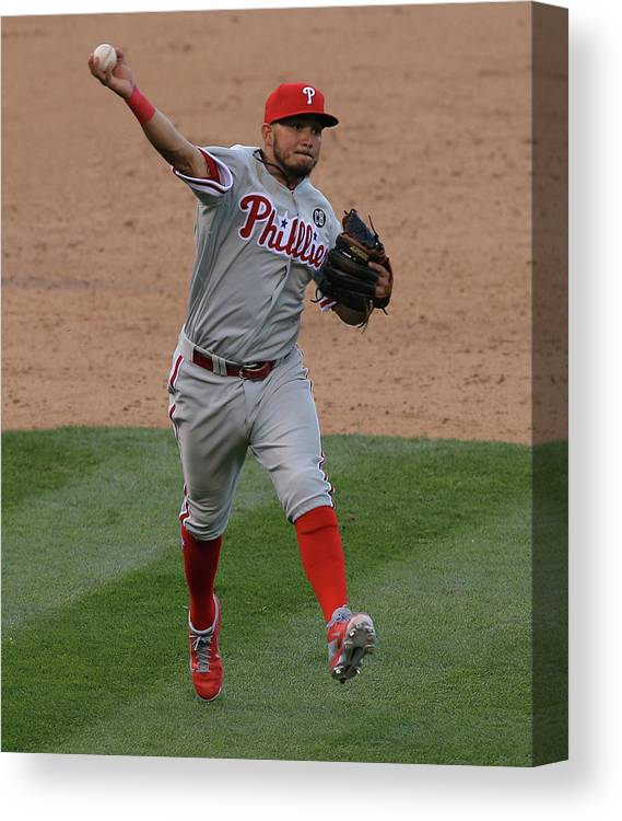 National League Baseball Canvas Print featuring the photograph Freddy Galvis by Doug Pensinger