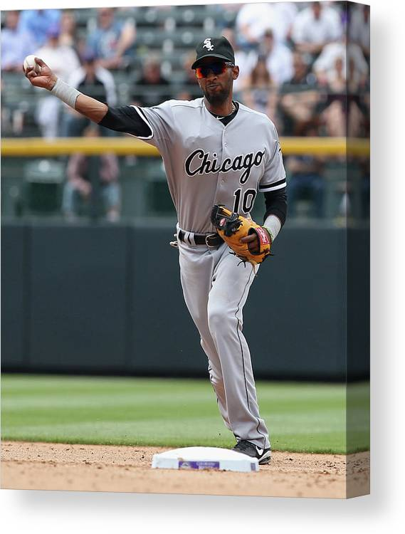 American League Baseball Canvas Print featuring the photograph Alexei Ramirez by Doug Pensinger