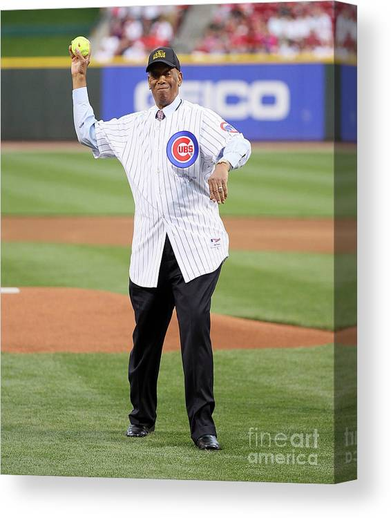 Great American Ball Park Canvas Print featuring the photograph Ernie Banks by Andy Lyons
